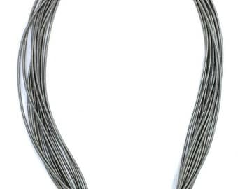 Piano Wire Necklace Slate with silver bridal clasp
