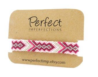 Pink Arrow Friendship Bracelets / Handwoven Braided Bracelet Best Friend Gift / Tribal Aztec Geometric Jewelry / Stackable Bohemian Bracelet