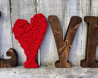 Valentine's Day Wood Love Letters Decor | Wedding Decor | Wedding Gift | Wooden Letters Love Heart Decor | Rustic Farmhouse Wood Letters