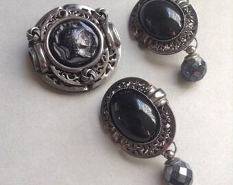 80's Donatella Pellini Cameo Brooch Pin and Clip Earring Set, black glass stones, filigree, silver tone, Dynasty style, Greece