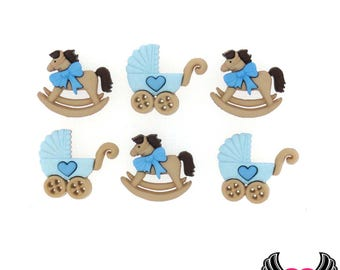Jesse James Buttons 6 pc Horse & Buggy Baby Boy Buttons OR Turn them Into Flatback Decoden Cabochons (#239) Blue Rocking Horse and Carriage