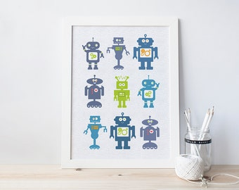 Robot Print for children - robot art - bedroom decor for boys - boys birthday gift - robots - robot room decor - wink design - wink designs