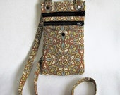 Small hip bag- Light brown, blue, green and white medallion print cotton