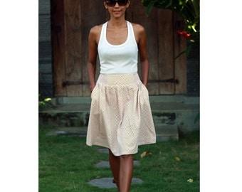 Yellow Mustard Skirt / Chain Print Skirt / Summer Skirts / Bridesmaids Skirt in Yellow with Pockets
