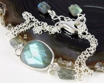 Labradorite bracelet, Sterling Silver bracelet, grey green gemstone fine bracelet with iridescent blue flashes, holiday gift for her, BR2160