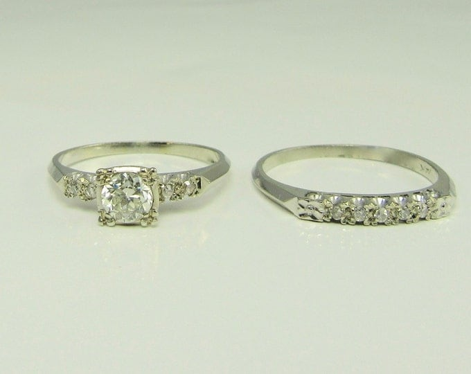 White Gold Vintage Wedding Set; Wedding Set; Vintage Wedding Set; Wedding Ring; Engagement Ring; White Gold Wedding Set; Bridal Set