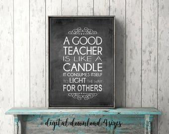 Teacher Appreciation Gift Printable QUICK Unique Word Art  Chalkboard TEACHER QUOTE Instant Digital Download File A Good Teacher