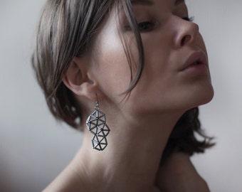 Handmade slate grey glass bead geometric structural beaded dangle earrings