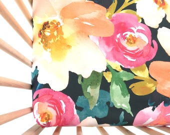 Crib Sheet Midnight Floral. Fitted Crib Sheet. Baby Bedding. Crib Bedding. Crib Sheets. Floral Crib Sheet.