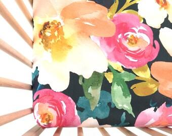 Crib Sheet Midnight Floral. Fitted Crib Sheet. Baby Bedding. Crib Bedding. Minky Crib Sheet. Crib Sheets. Floral Crib Sheet.