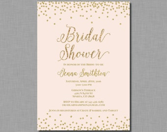 Blush Gold Bridal Shower Invitation pink glitter Mia BR85 Digital or Printed