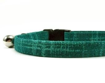 Cat Collar, Small Dog Collar, Teal Green