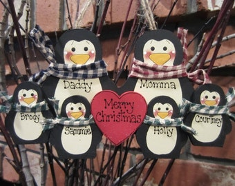 Family of 6: Personalized Penguin Ornament