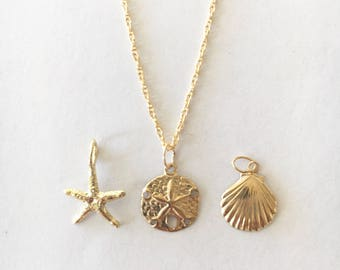 YOUR CHOICE: Dainty 14kt Gold Fill Necklace - Sand dollar, Starfish or Scallop Shell
