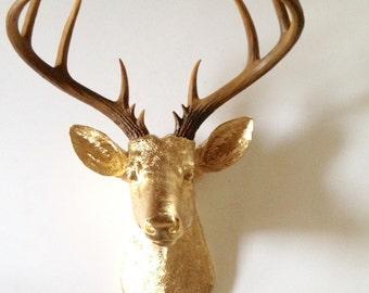 XL GOLD Natural-looking antlers XL Deer Head Faux Taxidermy animal head wall mount wall hanging / stag head / metallic nursery decor office