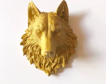 YOSEMITE YELLOW Large Faux Taxidermy Wolf Head wall mount faux animal head wall hanging mounted wolf head boys room office wall decor resin