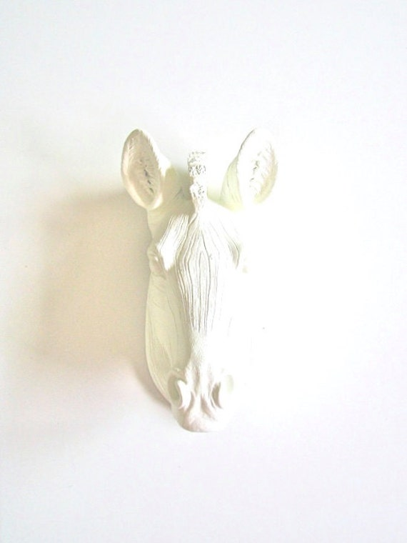 WHITE SMALL Zebra Head wall mount wall hanging Faux Taxidermy Mini animal head / nursery wall decor / office decor / white wall decor gift