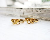 RESERVED- Vintage 8K Gold Tiny Leaf Earrings with 4 Diamonds