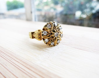 RESERVED- Antique 8K Gold Round Rositas Ring with 9 Brilliant Cut Diamonds from the Philippines (US Ring Size 5.5)