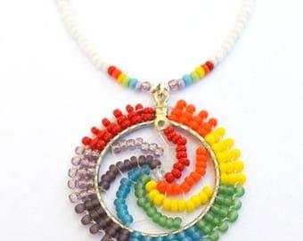Dream Catcher Rainbow Beaded Pendant Necklace - Rainbow Jewelry - Authentic Native American