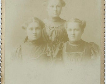 Antique Cabinet Card Photo, Faded Image of 3 Farm Girls
