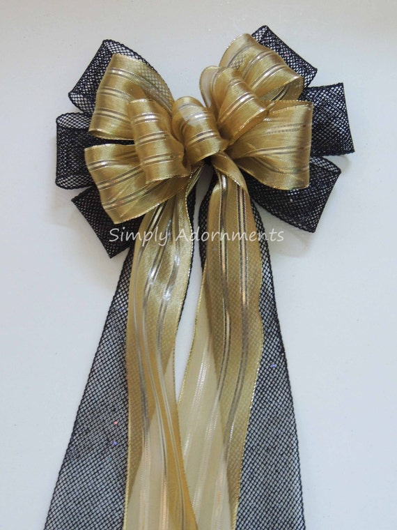 Black Gold Graduation Party Decor Black Gold Ceremony Aisle Decor Black Gold Wedding Pew Bow Black gold Bridal shower party Gift Basket Bow