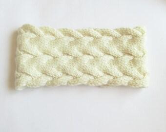 Hand knit headband, white knit headband, head wrap accessory, wool headband