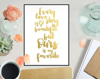 Love Story Art, Gold Foil Print, Real Gold Foil, Wedding Gift, Birthday Gift, Home Decor, Office Decor, Gift for Her, 8x10, 11x14, 11x17