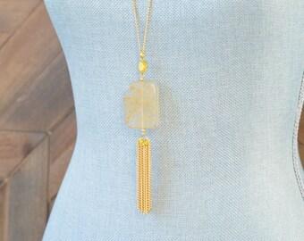 Long Tassel Necklace - Chain Tassel Necklace - Long Fringe Necklace - Stone Tassel Necklace - Sand Necklace - Long Quartz Necklace - Amber