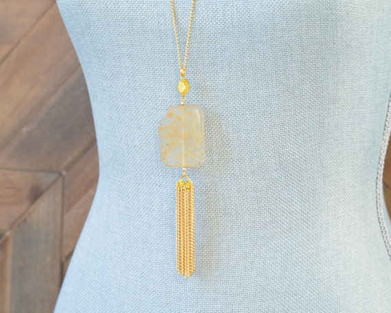 Long Tassel Necklace - Chain Tassel Necklace - Long Fringe Necklace - Stone Tassel Necklace - Sand Necklace - Long Quartz Necklace - Amber