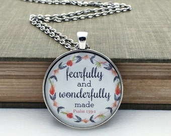Fearfully and wonderfully made glass pendant bible verse necklace bronze silver coral gray salmon inspirational jewelry psalm 139:14 gift