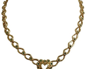 MINT. Vintage NINA RICCI statement necklace with heart shape and flower motifs with green crystal stones. Rare and gorgeous gift