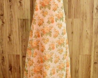 1970s Maxi Length Boho Dress, Seventies Peach Floral Dress w/ Orange & Olive Detail, Empire Waist Maxi w Puff Short Sleeves Sheer Overlay
