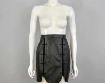 FRANCE VET Vintage 1980s Bad Mistress lace-up Leather Skirt With Scallop Hem