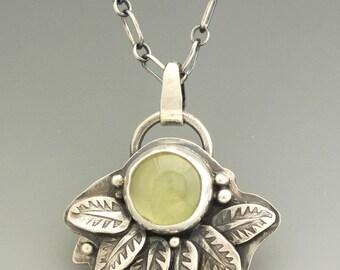 Prehnite Pendant, Leaf Pendant, Silver Pendant, Silver Necklace, Sterling Silver, Prehnite, Metalsmith, Metalwork, Artisan Jewelry
