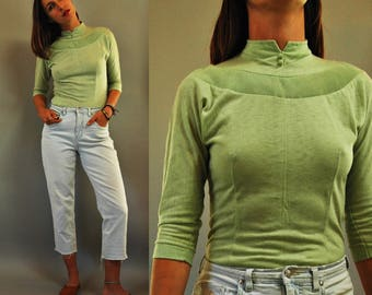 1950s Pistachio Green Lightweight Knit Sweater Top