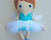 Fabric Doll Rag Doll, Red Haired Girl in Aqua Floral Top and Tutu