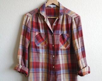 Vintage Womens 80s Plaid Shirt - Western Shirt - Bobbie Brooks - Peter Pan Collar - Womens Blouse - Rancher - Cowboy Shirt - Maroon - S/M