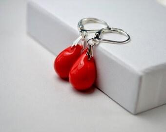 Red Beaded Earrings, Red Dangle Earrings Bright Red Jewelry, Scarlet Red Teardrop Earrings Leverback, UK Seller, Mothers Day Gift, Womens