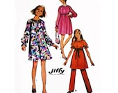 """1970 SIMPLE-to-SEW Tent Style Dress, Sleeve Options, Easy Beginners, Peasant Mini or Maternity Tent & Pants, Simplicity 9086, Bust 38"""" Uncut"""