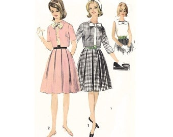 """1963 Wardrobe: Sleeveless Fitted Shell Top, Back Button, Bow Accent, 3/4 or Short Sleeve Jacket, Soft Pleated Skirt Simplicity 5275 Bust 34"""""""
