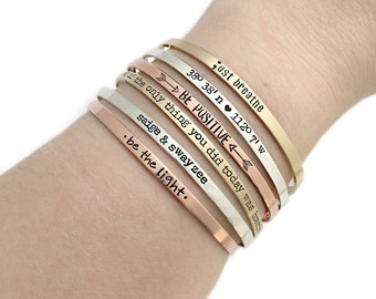 Personalized Cuff Bracelet - Inspirational Bangle Bracelets - Custom Mantra - Skinny Cuffs - Hand Stamped Stacking Bangle - Breathe - 1183