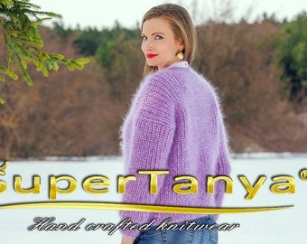 SUPERTANYA stylish mohair sweater in purple with glittering golden thread