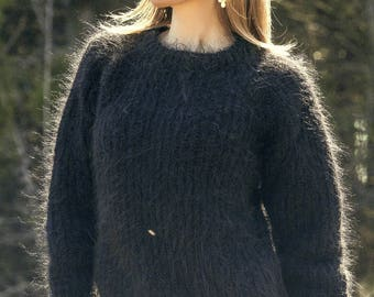 Light summer mohair sweater black jumper fuzzy blouse by SuperTanya on sale