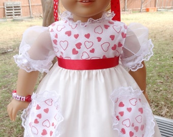 "18"" Doll Clothes 1950's Style Valentines Day Dress Fits American Girl Maryellen, Melody"