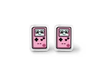 Pink Gamer Cutie Earrings - Kawaii Video Game Jewelry, Kawaii Earrings, Pastel Grunge, 90s Grunge, Gamer Gift, Geek Gift