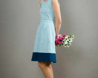 "Sleeveless Summerdress ""Lotta"", in a lightblue pattern"