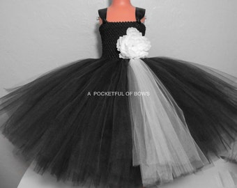 Black Flower Girl Dress, Ivory and Black Tulle Dress, Black Tulle Dress, Girls Black Formal Dress