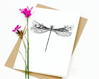 Dragonfly Card / Animal Illustration Card / A6 Greeting Card