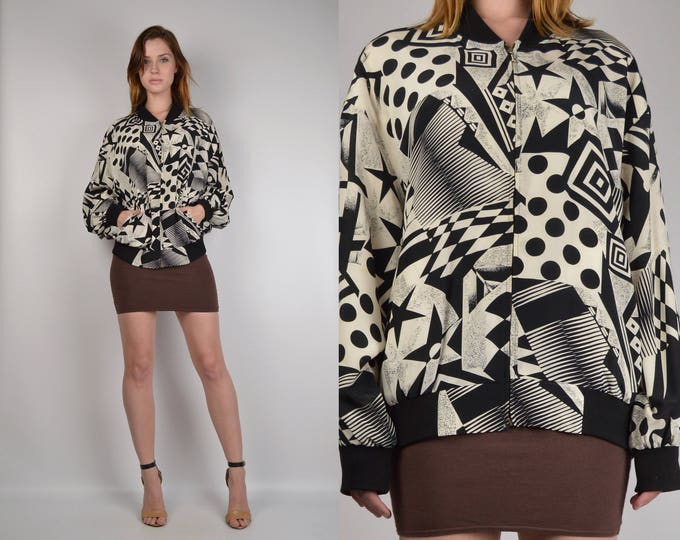 Vintage Silk Abstract Print Windbreaker Jacket